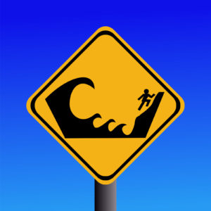Warning Tsunami danger area sign