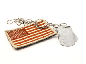 Camouflage Military American Flag patch and dog tags