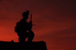 soldier at sunset VoA