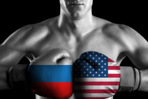 B&W fighter with Russia and USA color gloves