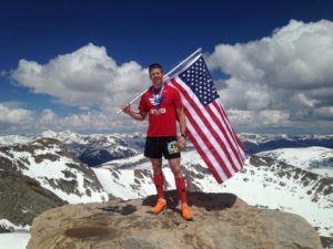 Brandon Young after ascending Mt. Evans, a 14,000 foot mountain in Colorado.