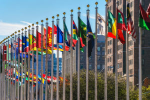 Flags from all countries outside of the UN building in Manhattan.