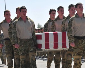 Platoon-mates carry Rob to his Angel Bird during a ramp ceremony on 01 OCT 2009 at Kandahar Airfield.