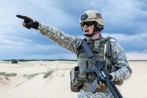 US soldier in the desert during the military operation