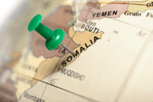Location Somalia. Green pin on the map.