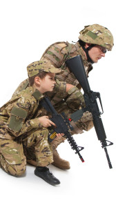 Military Father and Son isolated on white background