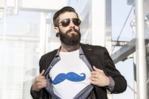 young hipster superhero oversees capital
