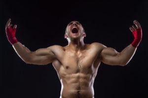 Happy Winning MMA Fighter On Ring