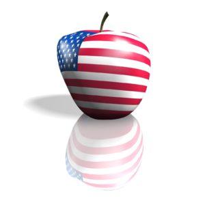 Mela con bandiera Stati Uniti d'America e riflesso