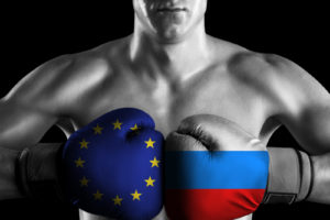 B&W fighter with EU and Russia color gloves