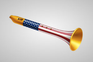 Golden fife with USA flag on gray background. Foreign policy of USA concept