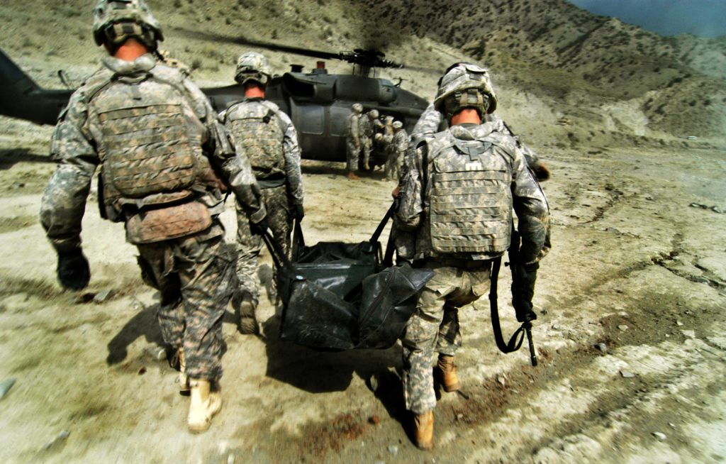 080917-2227 Carrying body to chopper Headline: Four US KIA in IED in rural Afghanistan Caption: Soldiers carry the body of one of their fallen comrades to a waiting helicopter on the first leg of its journey home to America. Four US soldiers and one Afghan interpreter were killed when the humvee in which they were patrolling was hit by an IED, Wednesday in Paktya province, eastern Afghanistan. Photographer: Paul Avallone/ZUMA Press Location: Forward Operating Base Wilderness, Paktya province, Afghanistan Date: 17 September 2008 KIA: CAPTAIN BRUCE E. HAYS (Wyoming National Guard), LIEUTENANT MOHSEN NAQVI (Active Duty), SERGEANT JASON VAZQUEZ (Illinois National Guard), SPECIALIST JOSHUA HARRIS (Illinois National Guard), EHSAN SHAPOR (Afghan national, interpreter)
