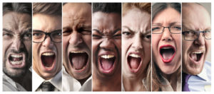 Angry people screaming