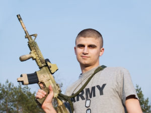 USA Soldier posing with his rifle