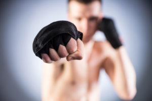 Boxing. Fighter's fist close-up