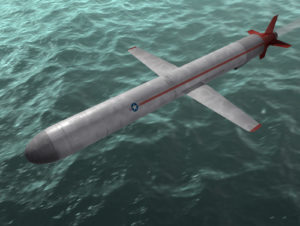 The cruise missile flies over the sea. 3d image.