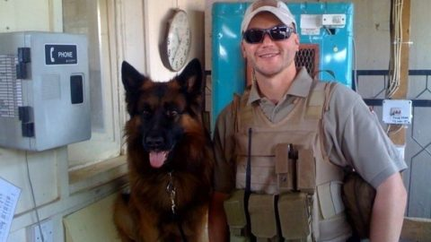 Jason Johnson with a K9